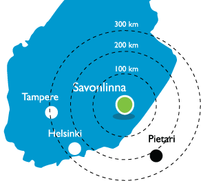 finland saimaa savonlinna map distances
